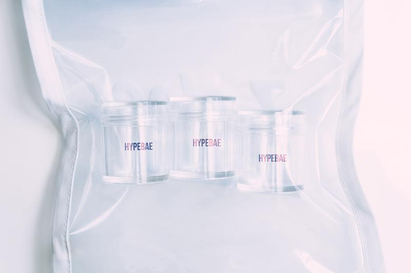 HYPEBAE April Fools' Day Invisible Makeup Brand Line Packaging Clear Bag Bottles Beauty Logo