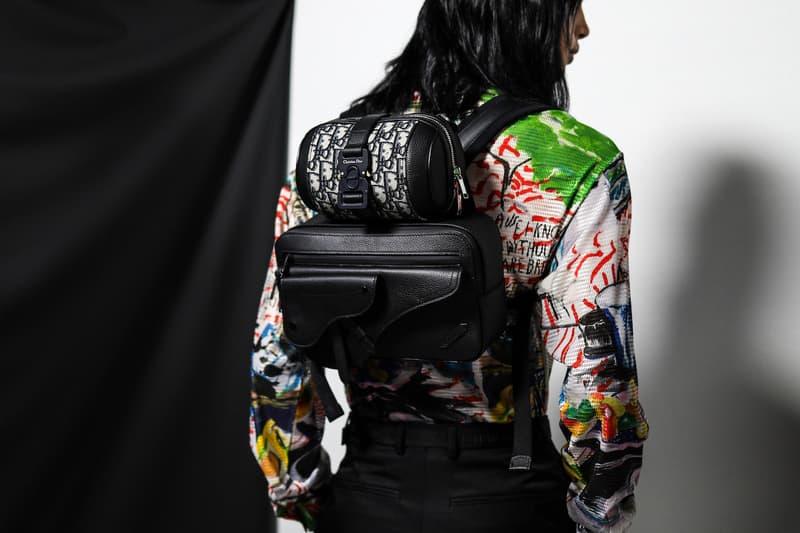 Dior Kim Jones Fall Winter 2019 Paris Fashion Week Men's Collection Sweater Green Yellow Handbag Black