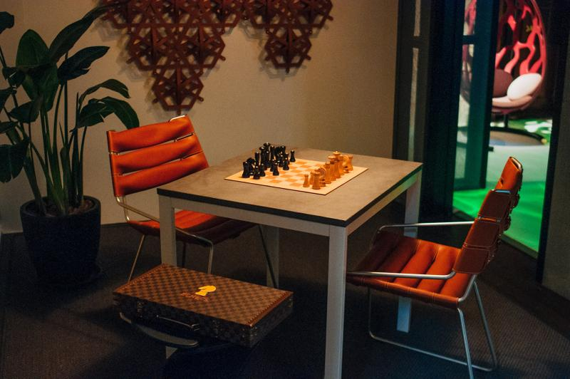 Louis Vuitton Objets Nomades Hong Kong Exhibit Table Silver Chairs Orange