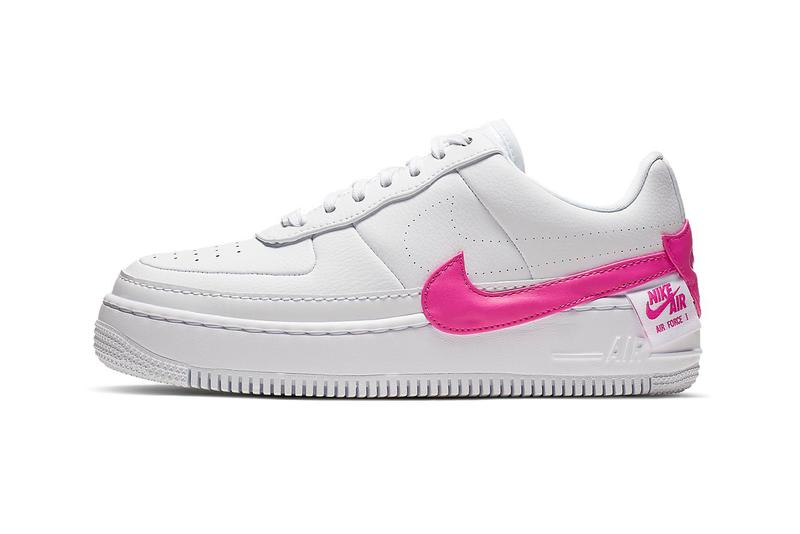 big sale aac35 789ed Nike Air Force 1 Jester XX Laser Fuchsia Pink Swoosh White Sneakers Trainers