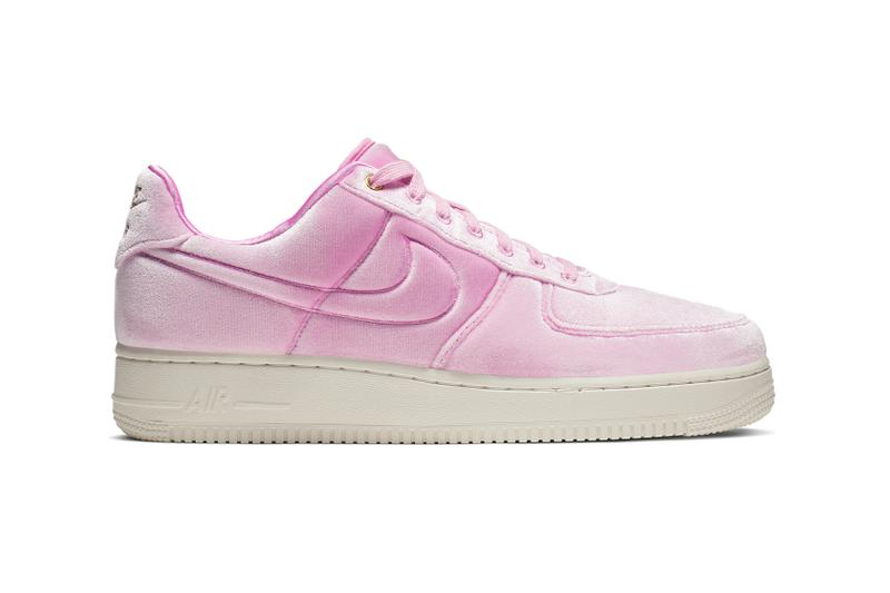 premium selection c9ec5 436b8 Nike Air Force 1 Pink Velvet Velour Trainers Sneakers Gold