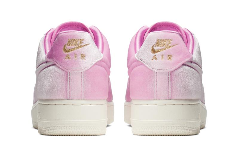 Nike Air Force 1 Pink Velvet Velour Trainers Sneakers Gold