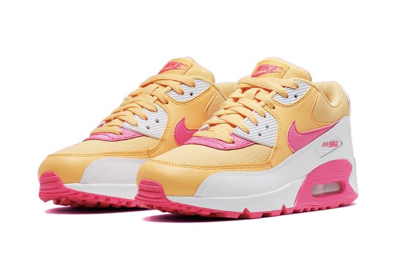"Nike Air Max 90 ""Topaz Gold/White/Laser Fuchsia"" Pink Yellow Sneaker Retro Spring Summer Shoe Statement"