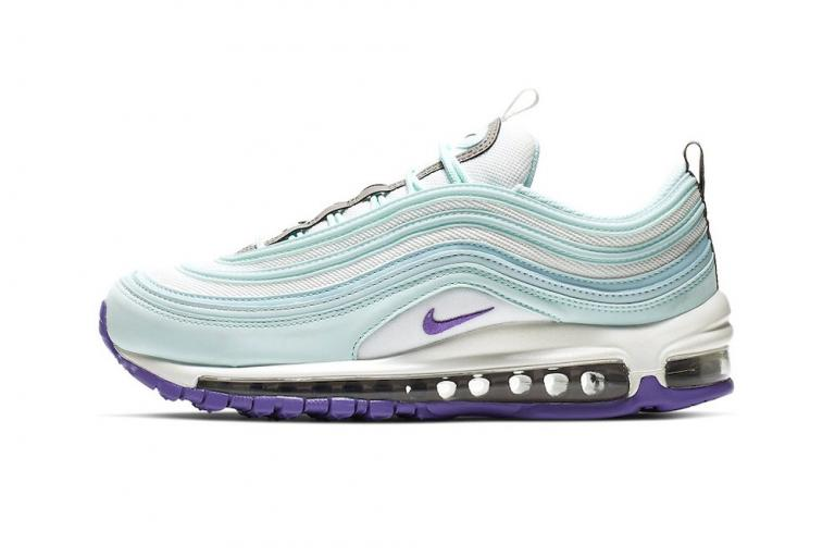 "Nike Air Max 97 ""Teal Tint"" Purple Ice Blue White Tint Sole Sneaker Release"