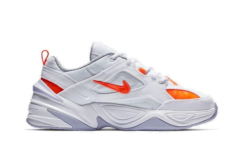 "Nike M2K Tekno ""Denim White/Hyper Crimson"" Drop Sneaker Shoe Spring Trainer Orange Details Swoosh"