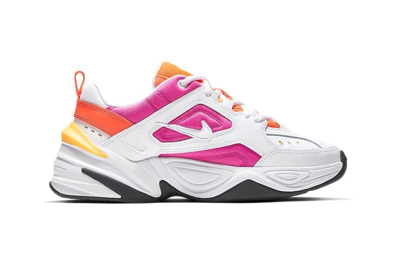 online retailer 76546 949e8 Nike M2K Tekno Pink Orange Laser Fuchsia Hyper Crimson Chunky Sneakers  Trainers