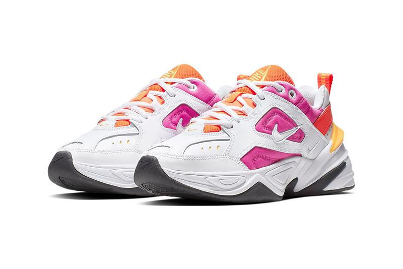 Nike M2K Tekno Pink Orange Laser Fuchsia Hyper Crimson Chunky Sneakers Trainers