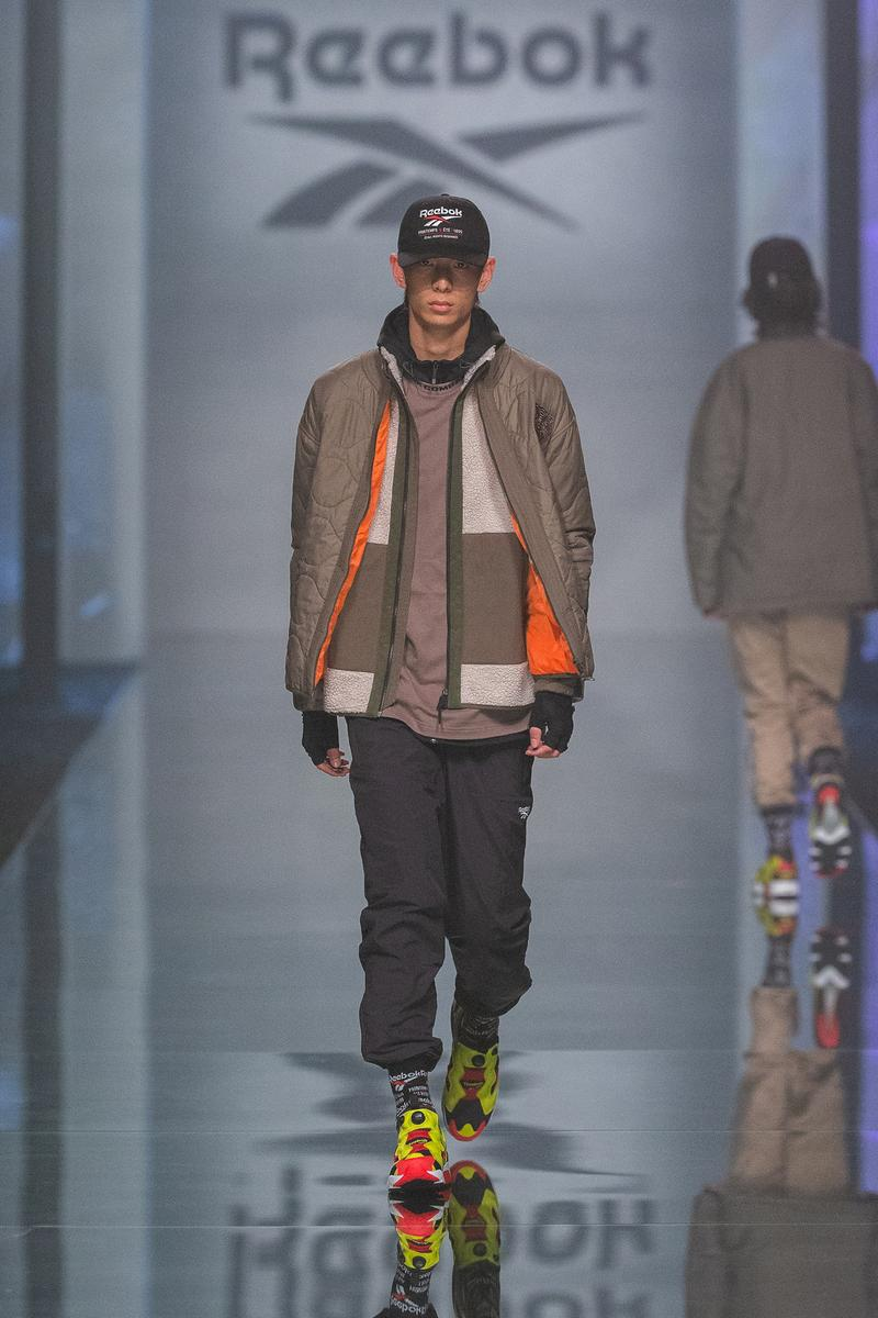 Reebok Fall Winter 2019 Shanghai Fashion Week Show Collection Jacket Tan Pants Grey