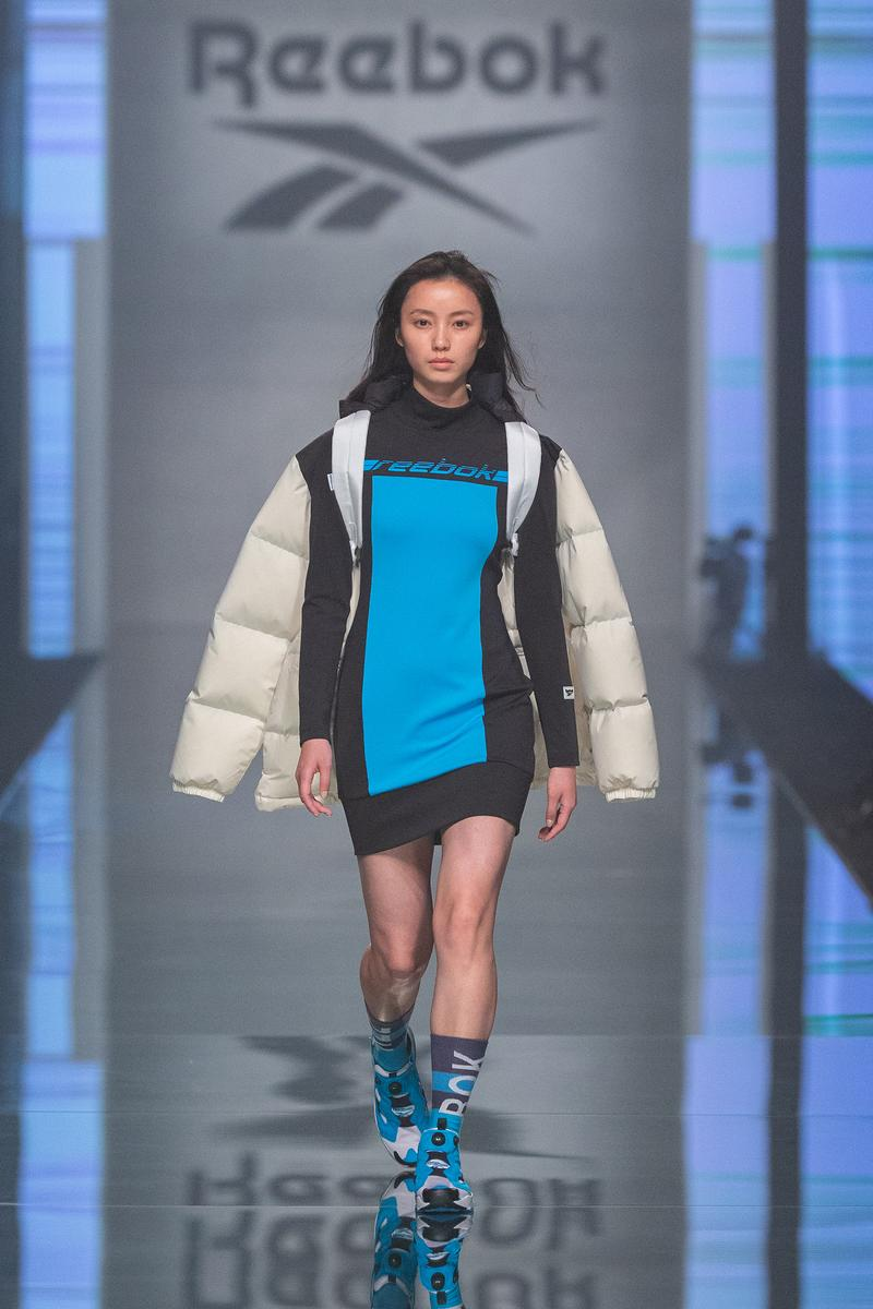 Reebok Fall Winter 2019 Shanghai Fashion Week Show Collection Jacket White Black Dress Teal