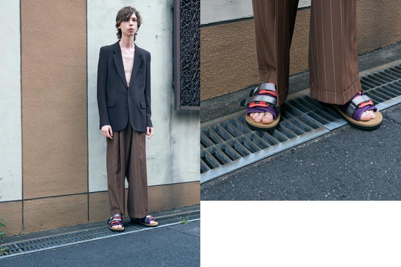 SUICOKE Spring Summer 2019 Lookbook Blazer Black Pants Brown Sandals Purple Red