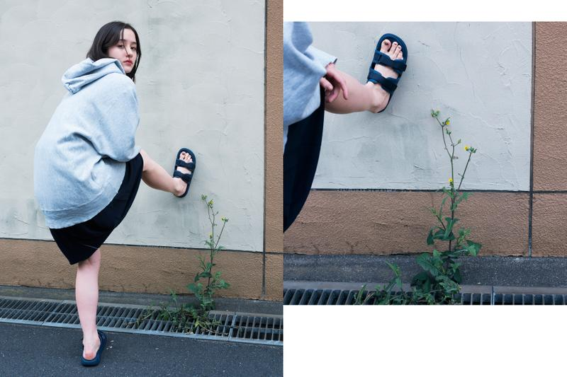 SUICOKE Spring Summer 2019 Lookbook Sweater Sandals Blue Shorts Black