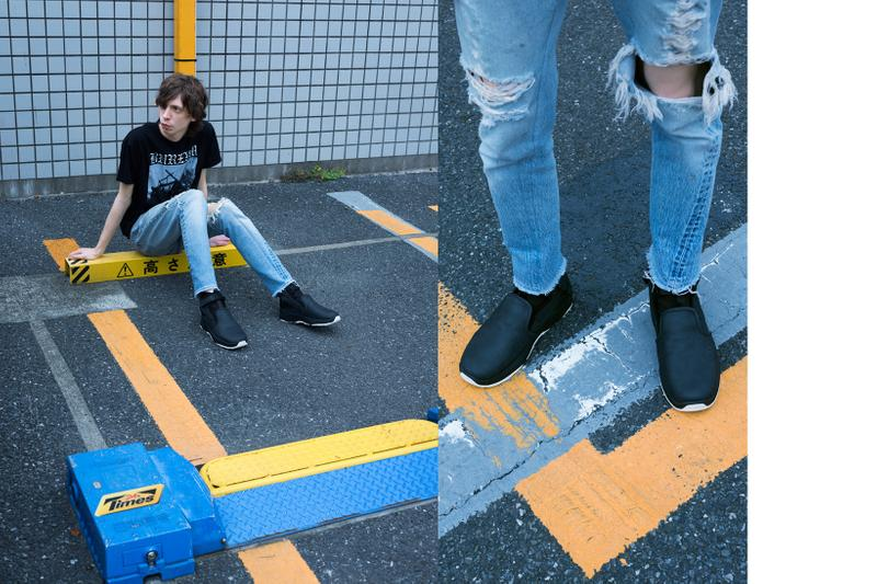 SUICOKE Spring Summer 2019 Lookbook Shoes T-shirt Black Pants Blue