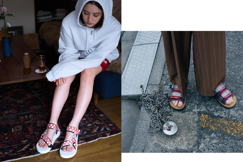SUICOKE Spring Summer 2019 Lookbook Sandals White Red Hoodie Grey