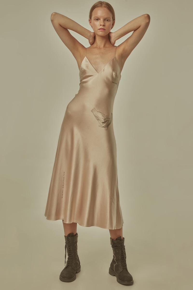 TTSWTRS Spring Summer 2019 Lookbook Silk Dress Tan