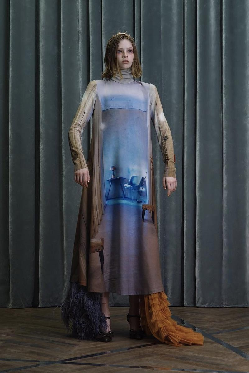 UNDERCOVER Fall Winter 2019 Collection Dress Blue Cream