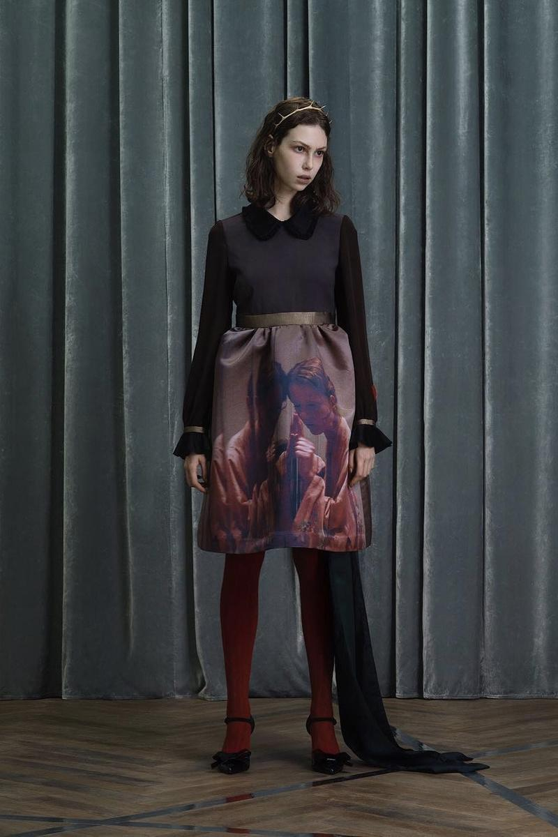 UNDERCOVER Fall Winter 2019 Collection Sweater Skirt Black Maroon