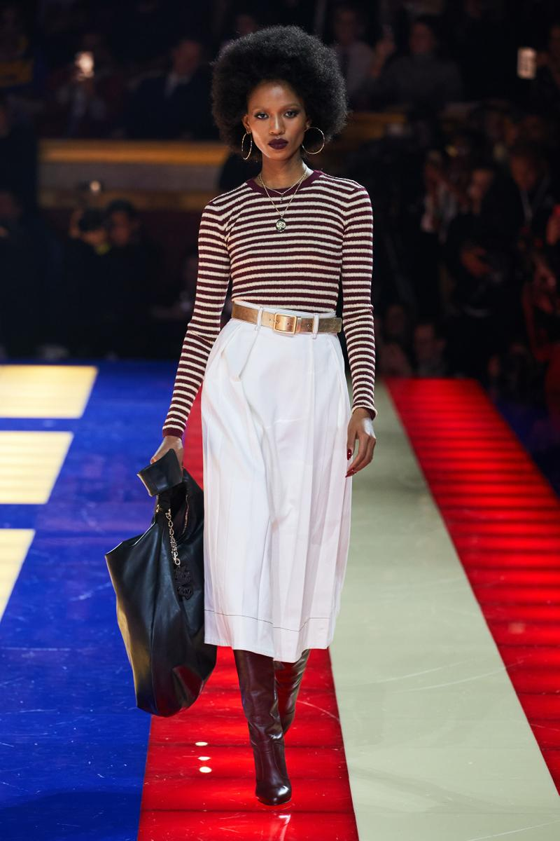Tommy Hilfiger TommyNow Zendaya Spring 2019 Paris Fashion Week Show Collection Adesuwa Aighewi Striped Top Pants White