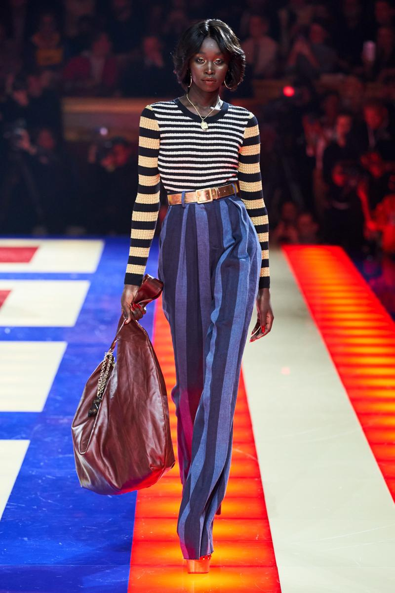Tommy Hilfiger TommyNow Zendaya Spring 2019 Paris Fashion Week Show Collection Striped Top Yellow Brown Pants Blue