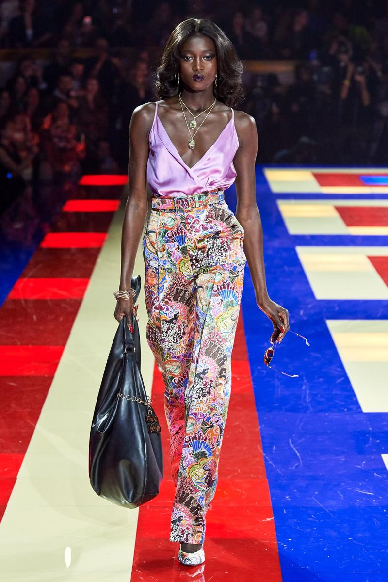 Tommy Hilfiger TommyNow Zendaya Spring 2019 Paris Fashion Week Show Collection Silk Top Purple Patterned Pants White Pink Blue