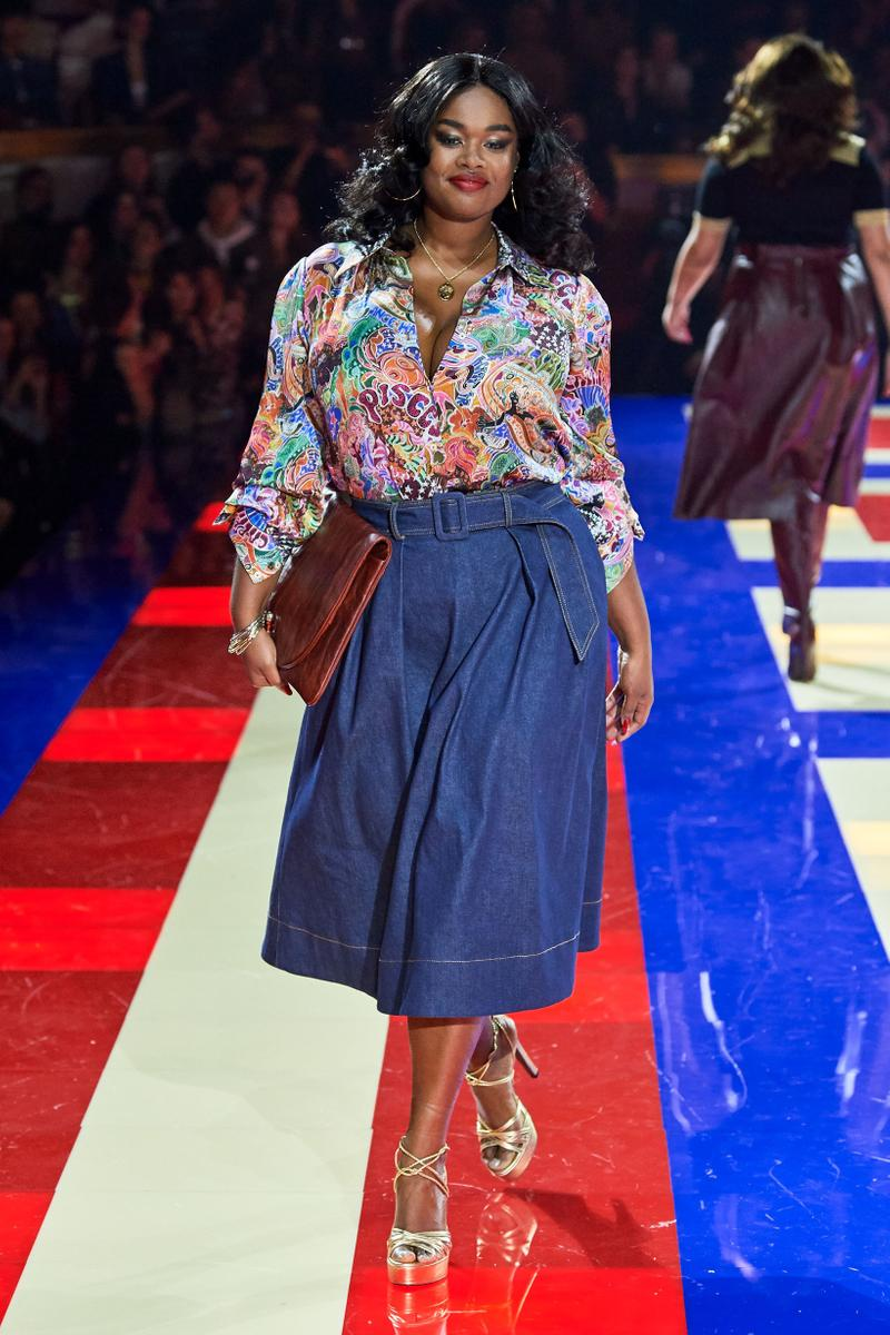 Tommy Hilfiger TommyNow Zendaya Spring 2019 Paris Fashion Week Show Collection Precious Lee Skirt Blue Top White Pink Blue