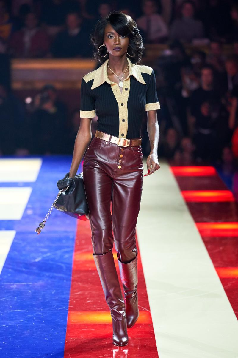 Tommy Hilfiger TommyNow Zendaya Spring 2019 Paris Fashion Week Show Collection Top Navy Pants Maroon