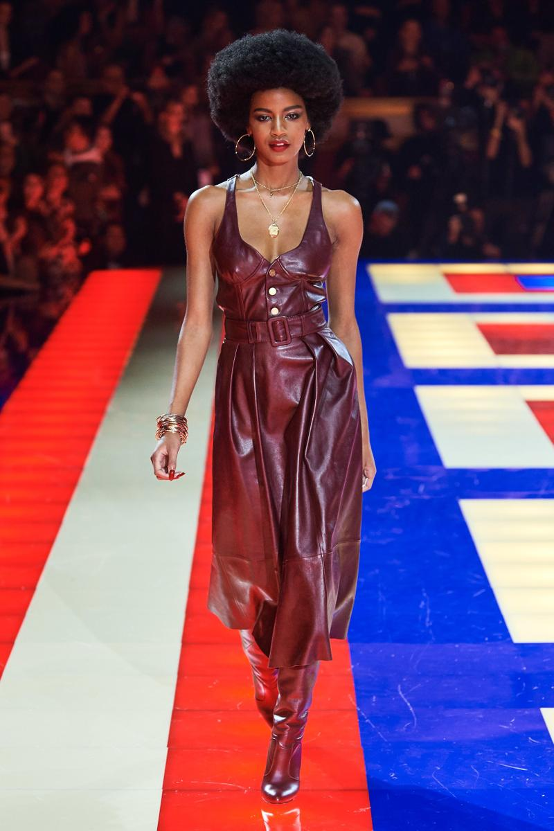 dea6b9d3 Tommy Hilfiger TommyNow Zendaya Spring 2019 Paris Fashion Week Show  Collection Ebonee Davis Dress Maroon