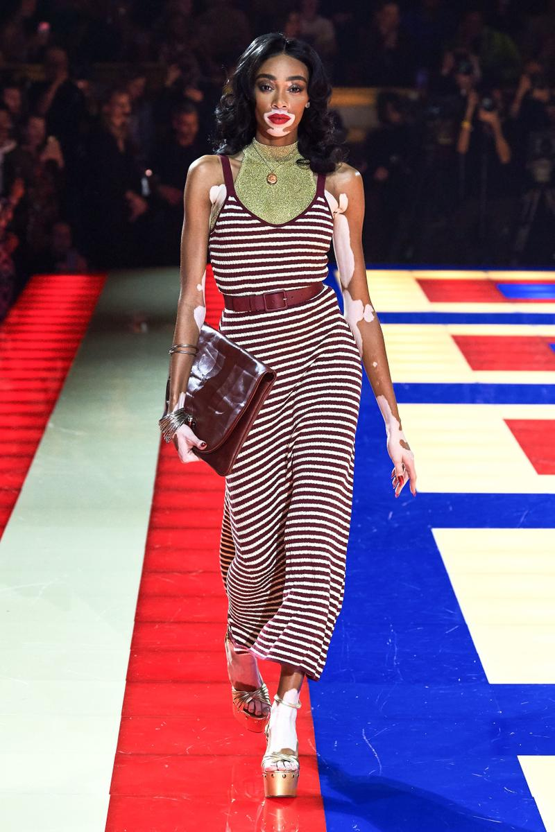 Tommy Hilfiger TommyNow Zendaya Spring 2019 Paris Fashion Week Show Collection Winnie Harlow Striped Dress Maroon