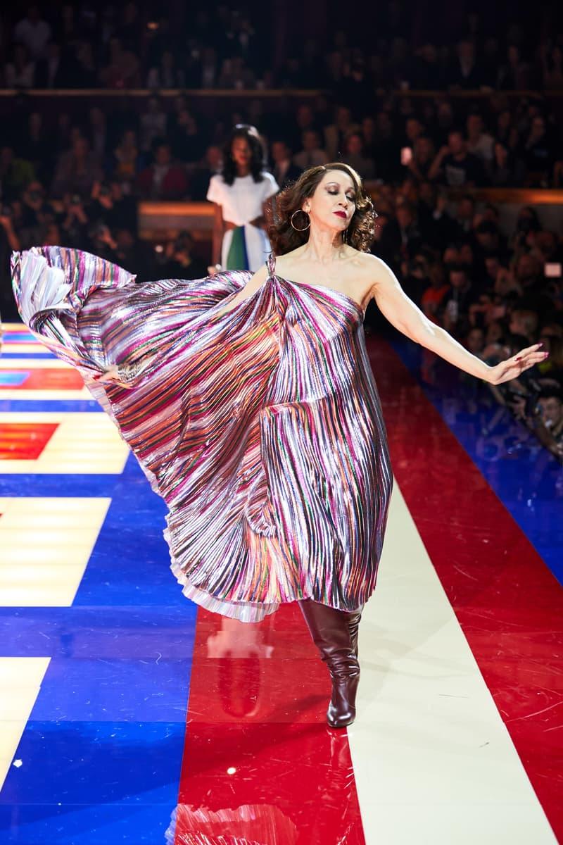 Tommy Hilfiger TommyNow Zendaya Spring 2019 Paris Fashion Week Show Collection Pat Cleveland Glitter Dress Maroon Silver