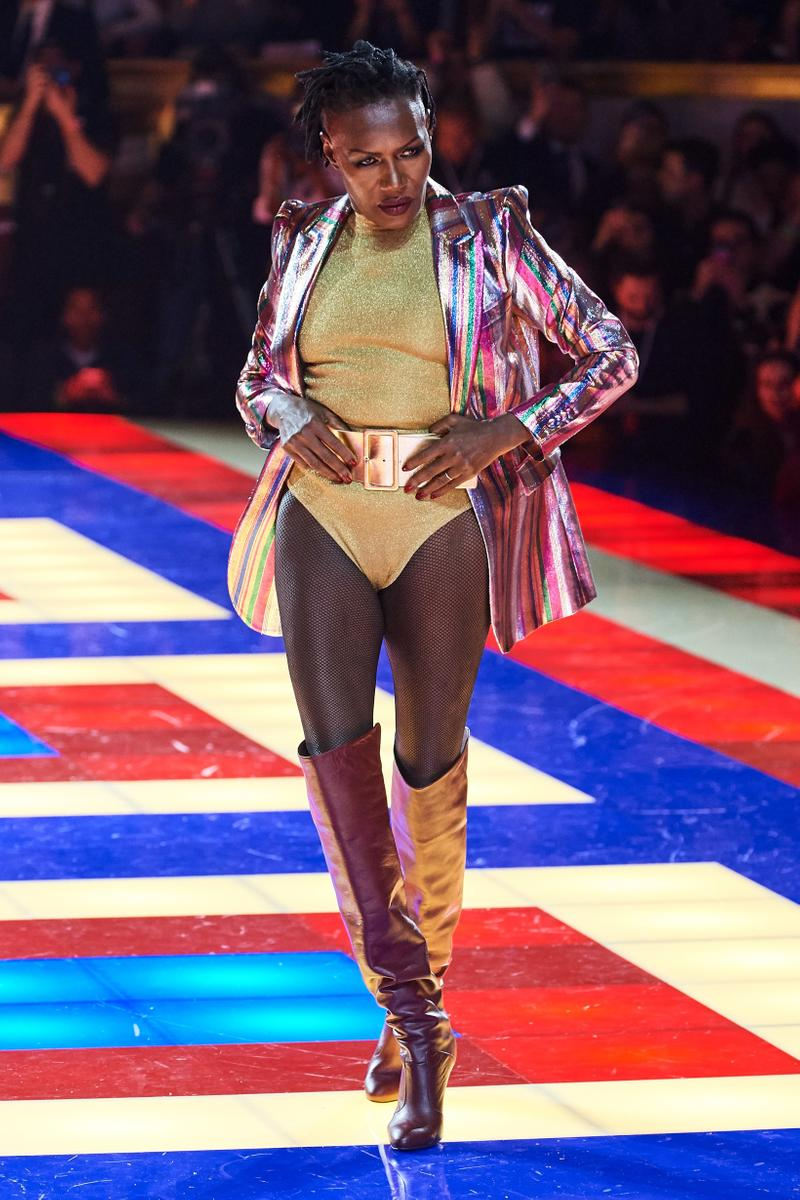 Tommy Hilfiger TommyNow Zendaya Spring 2019 Paris Fashion Week Show Collection Grace Jones Bodysuit Gold Jacket Pink