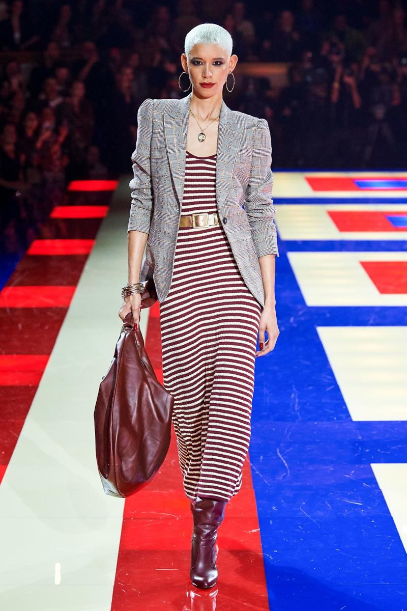 9a97ecc3 Tommy Hilfiger TommyNow Zendaya Spring 2019 Paris Fashion Week Show  Collection Dilone Striped Dress Maroon Blazer