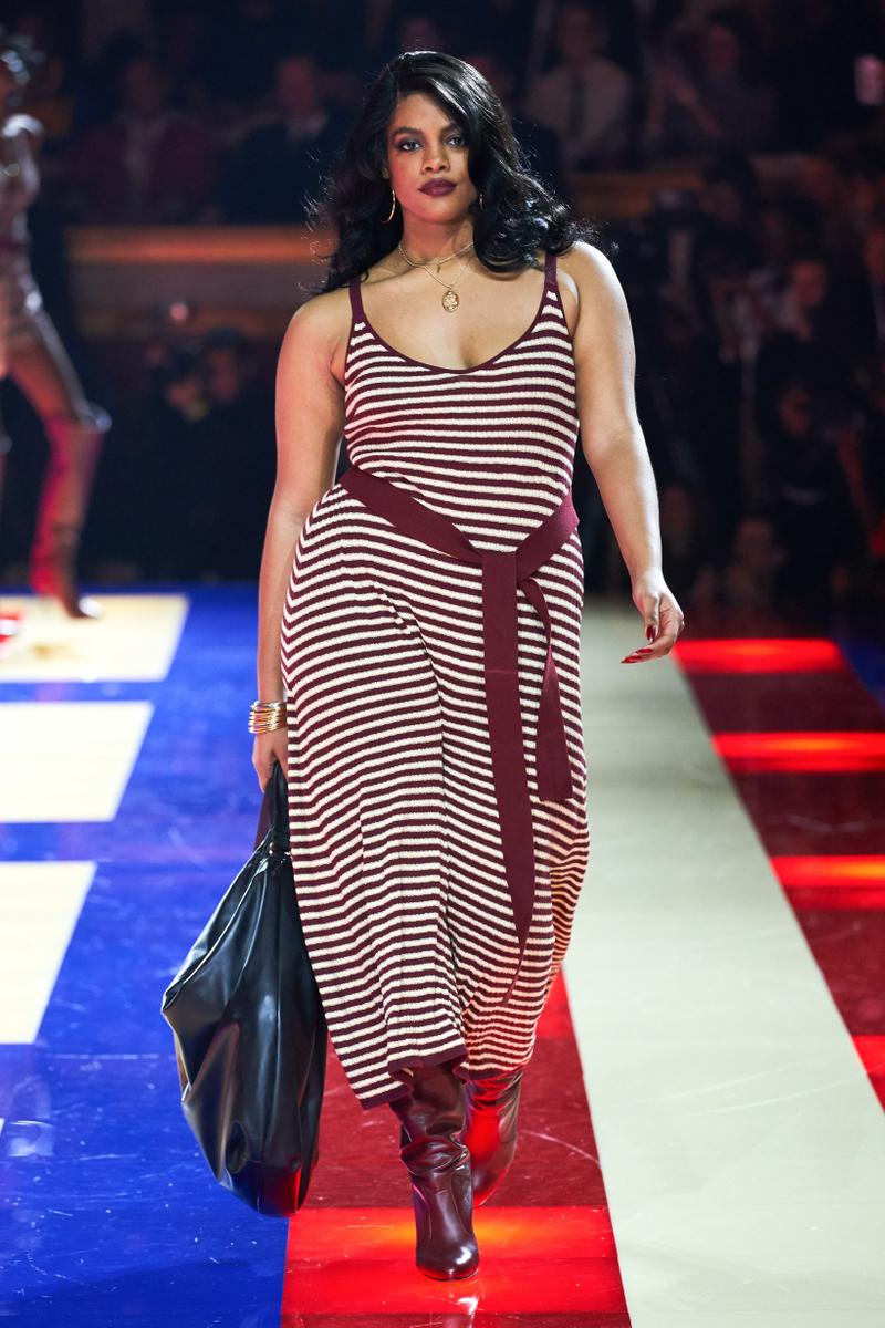 Tommy Hilfiger TommyNow Zendaya Spring 2019 Paris Fashion Week Show Collection Chloe Vero Striped Dress Maroon