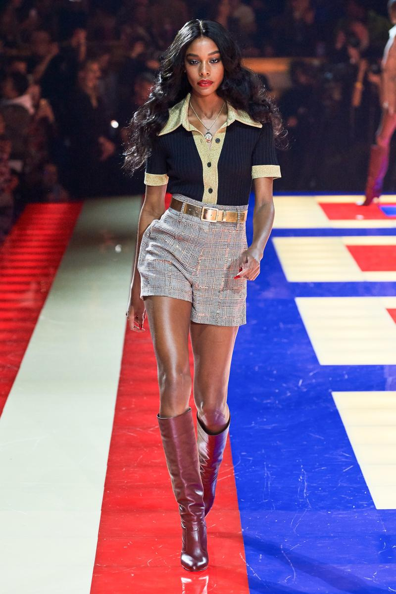 Tommy Hilfiger TommyNow Zendaya Spring 2019 Paris Fashion Week Show Collection Karly Loyce Top Blue Gold Shorts Grey