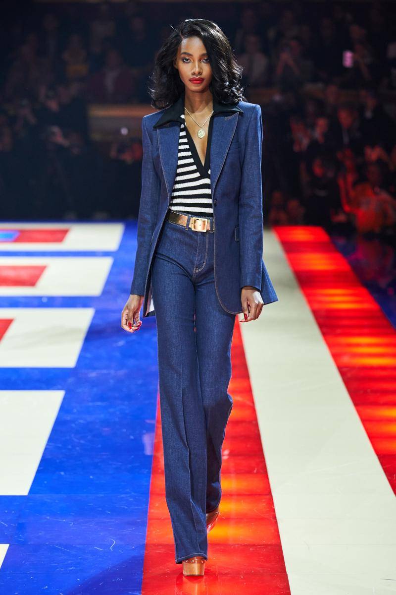 Tommy Hilfiger TommyNow Zendaya Spring 2019 Paris Fashion Week Show Collection Denim Suit Blue