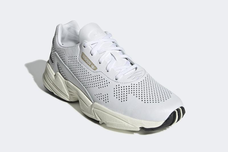 adidas falcon cloud white perforated upper details leather breathable sneaker spring
