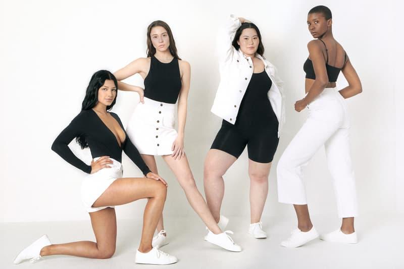 American Apparel Spring Summer 2019 Denim Collection Crop Wide Leg Jean Jacket Skirt White