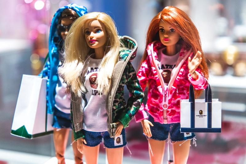 BAPE x Barbie Collection Dolls Camouflage Jackets Green Blue Pink