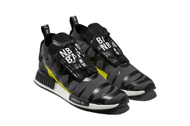 BAPE x Neighborhood x adidas Originals NMD STLT Black Grey Yellow