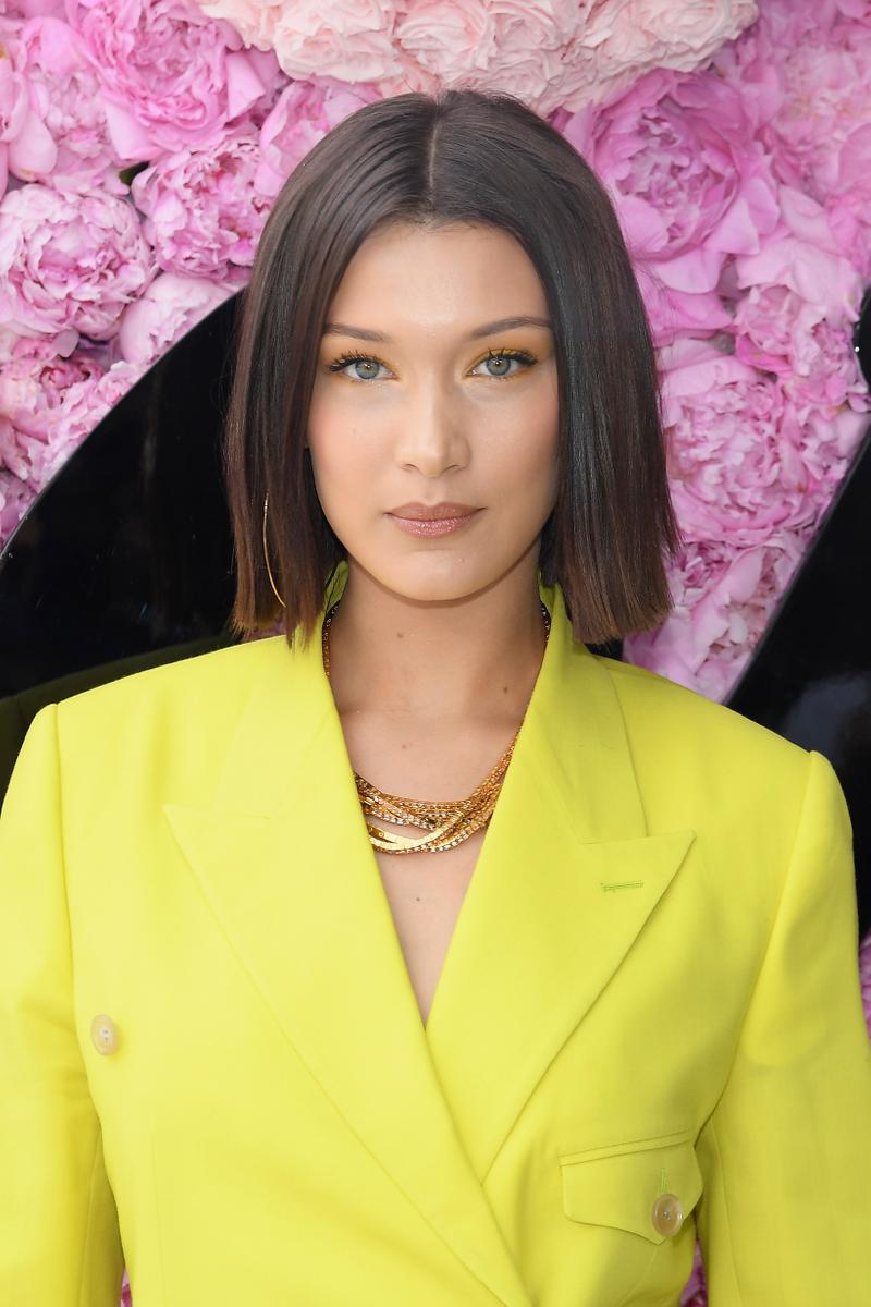Bella Hadid Paris Fashion Week Men's Dior Homme Spring Summer 2019 Blazer Yellow Makeup Beauty