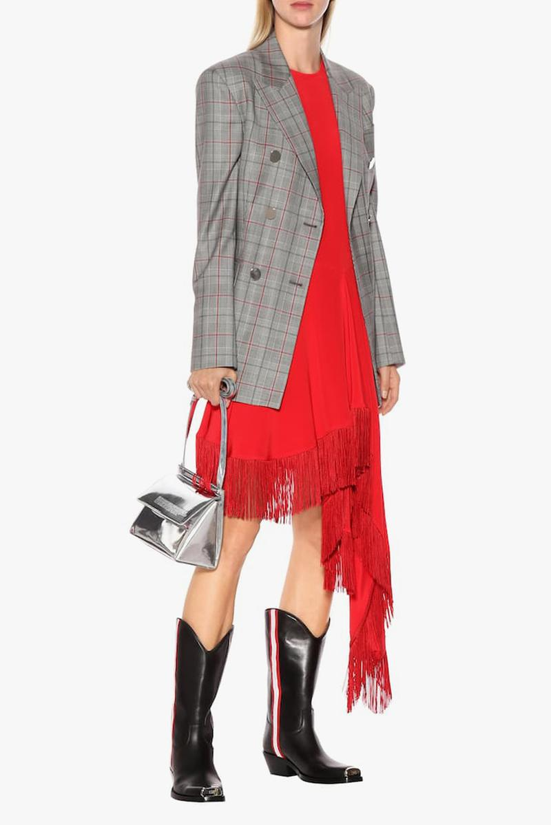 Calvin Klein 2015W39NYC Leather Cowboy Boots Black Blazer Grey Dress Red