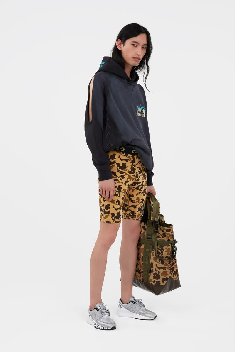 KOCHÉ x Faith Connexion x Feng Chen Wang x Converse Capsule Collection Hoodie Black Shorts Brown Black Bag Green