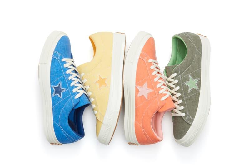 Converse One Star Spring/Summer Colorways Purple Yellow Orange Denim Blue Pastel Sneaker Shoe Footwear