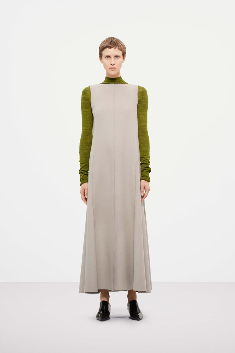 Cos Fall Winter 2019 Lookbook Top Green Dress Grey
