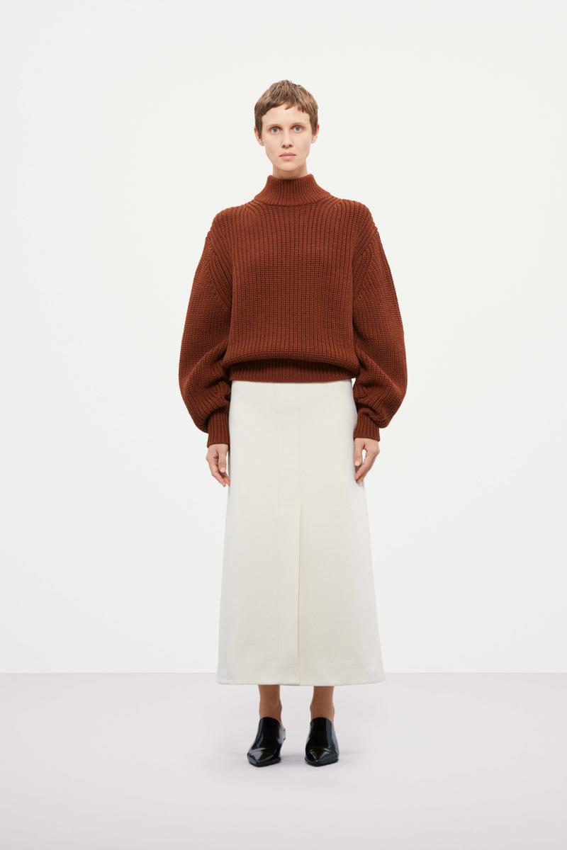 Cos Fall Winter 2019 Lookbook Sweater Orange Skirt Cream