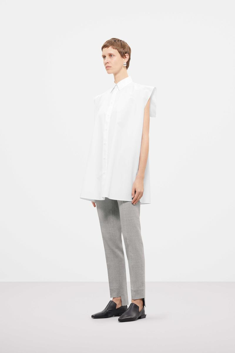 Cos Fall Winter 2019 Lookbook Top White Pants Grey Shoes Black