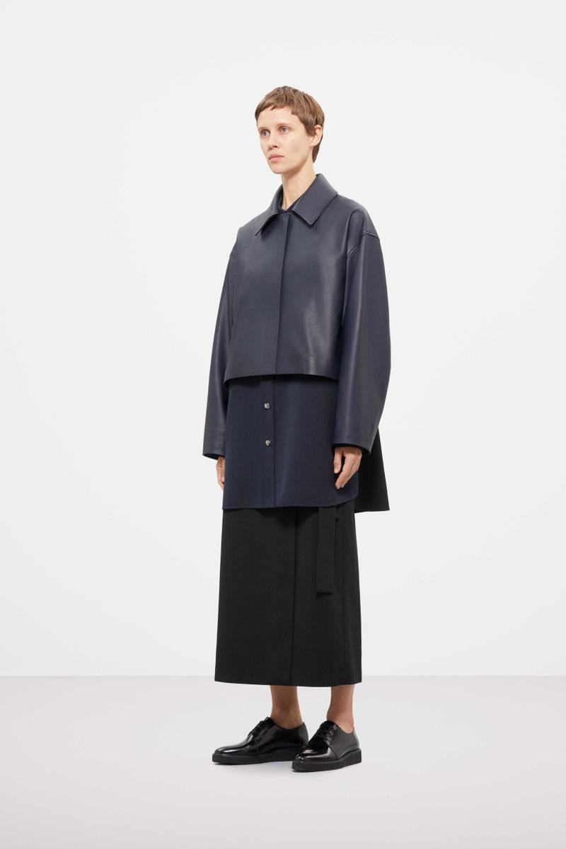 Cos Fall Winter 2019 Lookbook Jacket Blue Skirt Black