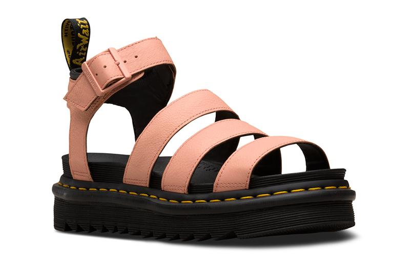 Dr. Martens Platform Living Coral Pastel Blue Yellow Gladiator Blaire Sandals Pantone color of the year 2019