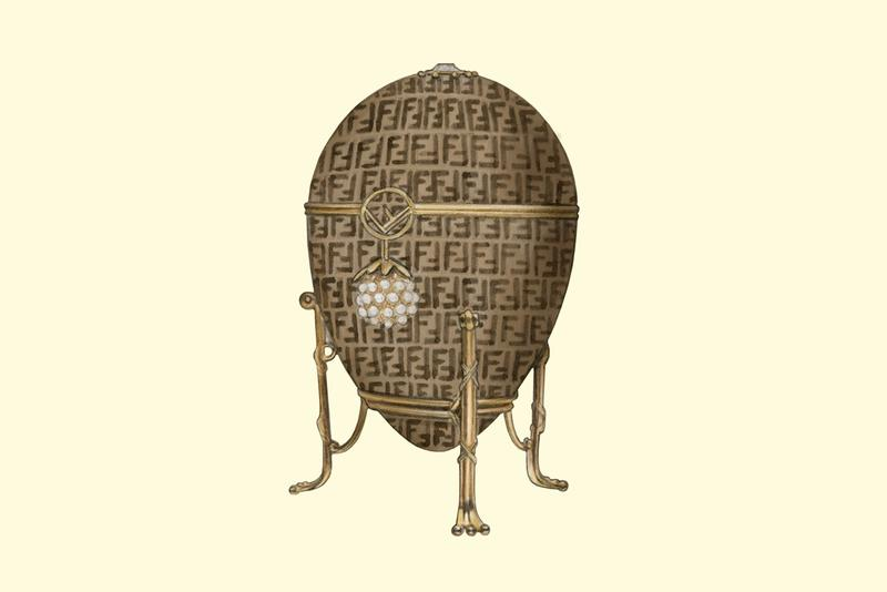 Easter eggs Faberge Egg Luxury Fashion Brand Monogram Logo Fendi Zucca Illustrations Dena Cooper