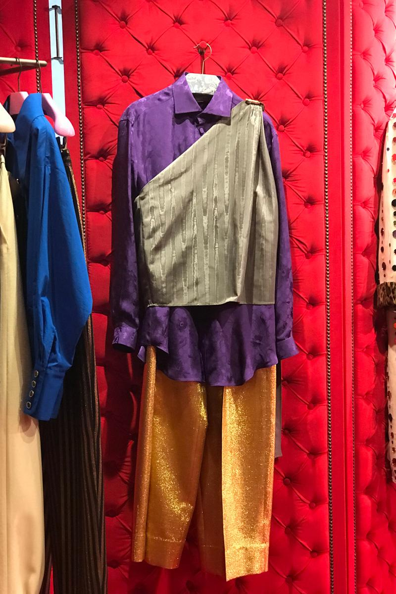Gucci Fall Winter 2019 Collection Shirt Purple Grey Pants Yellow