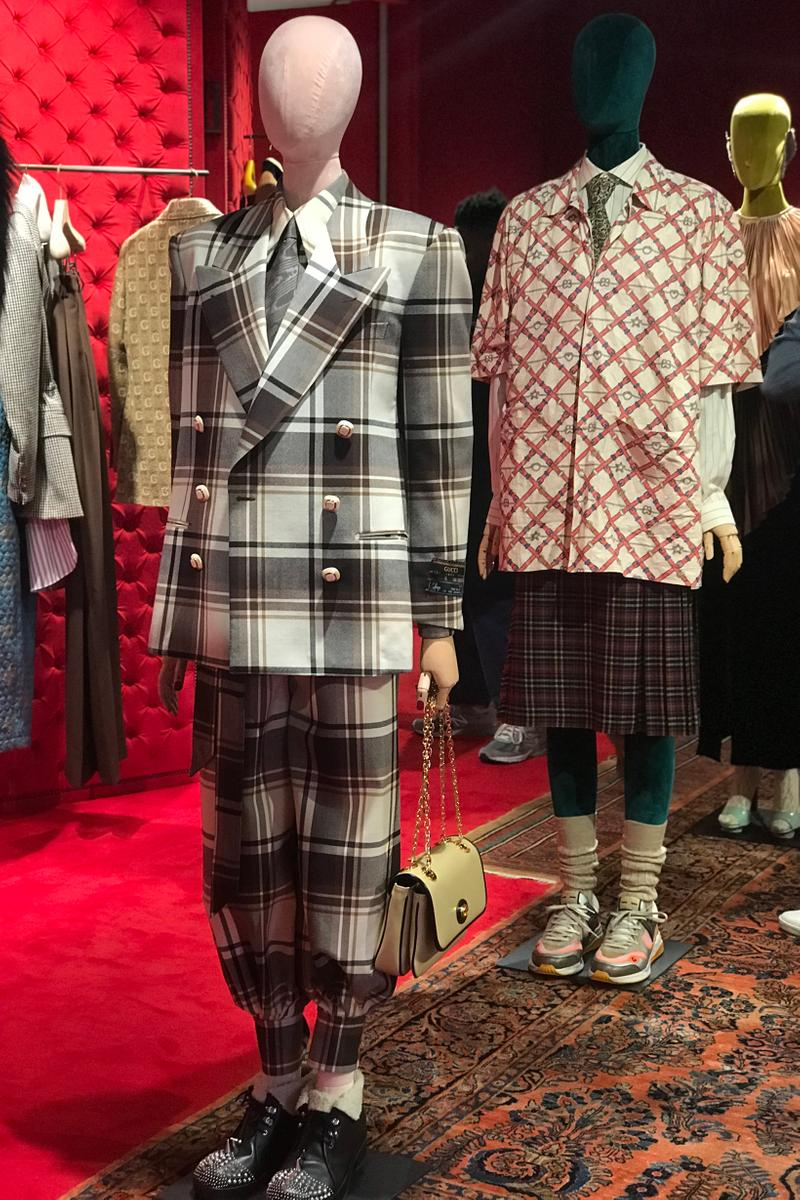 Gucci Fall Winter 2019 Collection Suit Plaid White Black Shirt Red