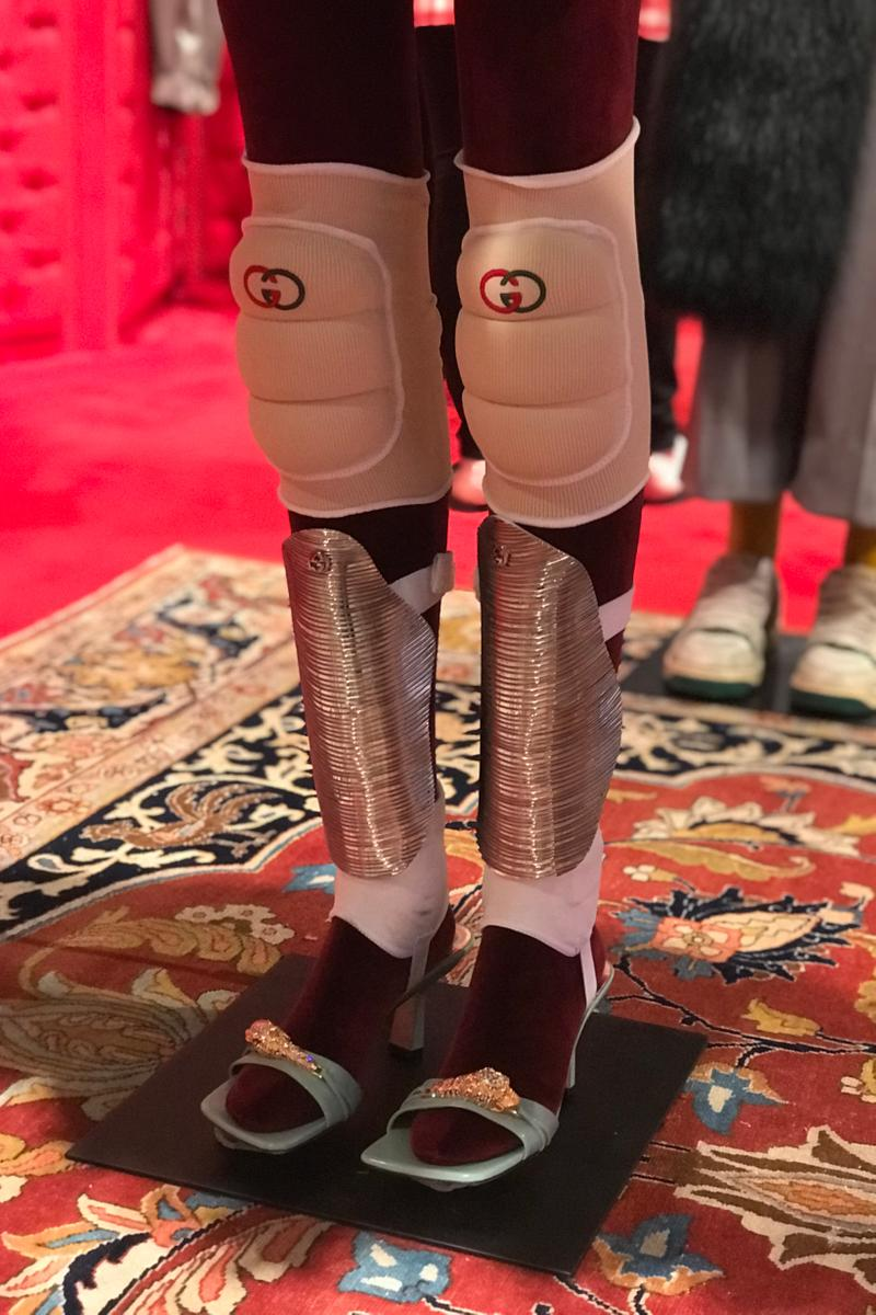 Gucci Fall Winter 2019 Collection Knee Pads White Sandals Pink